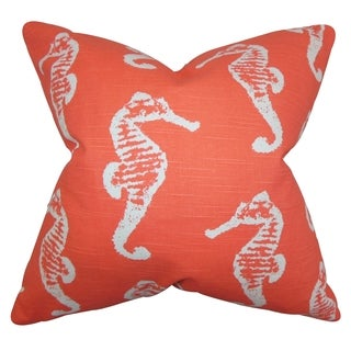 Jolyon Coastal Orange Feather Filled 18-inch Throw Pillow