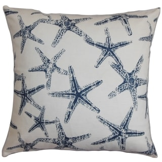 Ilene Coastal Navy Blue Feather Filled 18-inch Throw Pillow