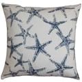 Ilene Coastal Navy Blue Feather Filled 18-inch Throw Pillow