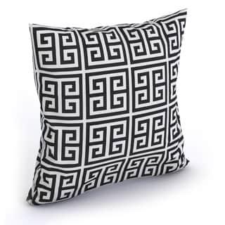Paros Greek Key Black White Feather Filled 18-inch Throw Pillow
