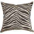 Cecania Zebra Print Chocolate Linen Feather Filled 18-inch Throw Pillow