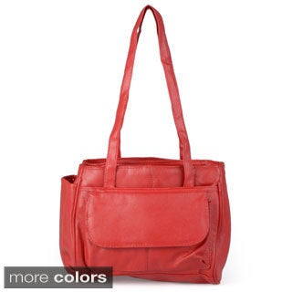 Journee Collection Women's Leather Double Handle Satchel