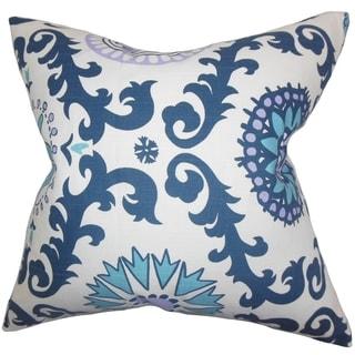 Kaula Geometric Blue Feather Filled 18-inch Throw Pillow