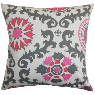 Kaula Geometric Gray Pink Feather Filled 18-inch Throw Pillow