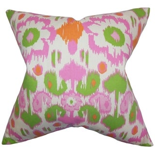 Querida Ikat Green Pink Feather Filled 18-inch Throw Pillow