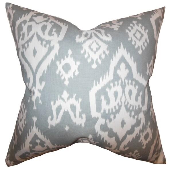 Baraka Ikat Gray Feather Filled 18-inch Throw Pillow