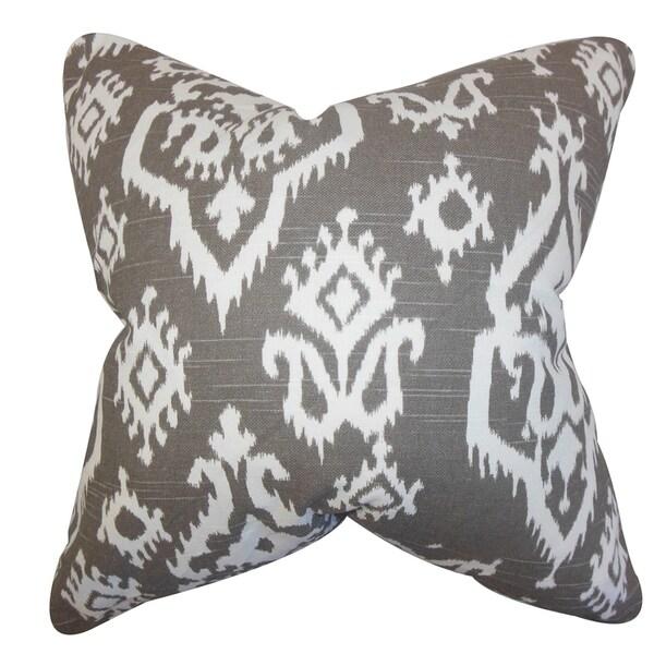 Baraka Ikat Brown Feather Filled 18-inch Throw Pillow