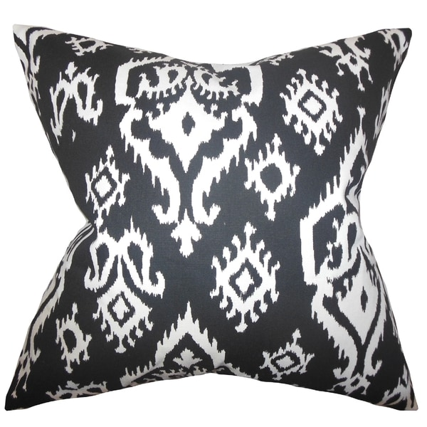 Baraka Ikat Black Feather Filled 18-inch Throw Pillow