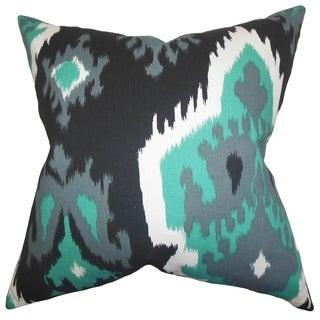 Djuna Ikat Gray Feather Filled 18-inch Throw Pillow