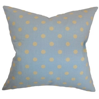 Nancy Polka Dots Blue Yellow Feather Filled 18-inch Throw Pillow