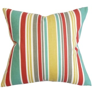 Kirsi Stripe Red Feather Filled 18-inch Throw Pillow