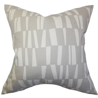 Iker Geometric Gray Feather Filled 18-inch Throw Pillow