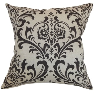 Olavarria Damask Black Linen Feather Filled 18-inch Throw Pillow