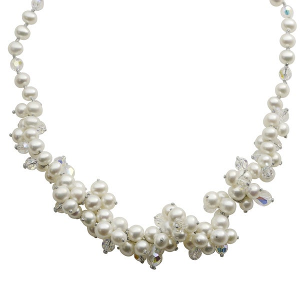 Pearls For You Sterling Silver 18-inch White Freshwater Pearl and Mixed Crystal Bead Cluster Necklace