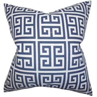 Paros Greek Key Navy Blue Feather Filled 18-inch Throw Pillow
