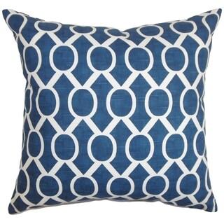 Raziya Geometric Navy Blue Feather Filled 18-inch Throw Pillow