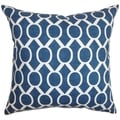 Raziya Geometric Navy Blue Feather Filled 18-inch Throw Pillow