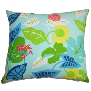 Gamila Floral Indoor/Outdoor Turquoise Green 18-inch Throw Pillow