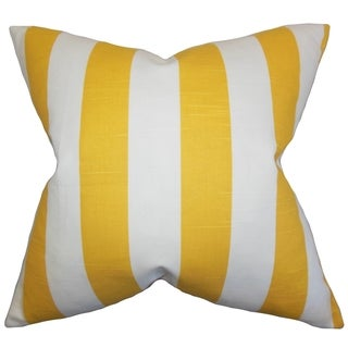 Acantha Stripes Yellow Feather Filled 18-inch Throw Pillow