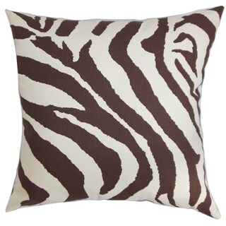 Dristi Zebra Print Brown White Feather Filled 18-inch Throw Pillow