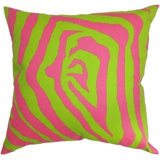 Dristi Zebra Chartreuse Pink Feather Filled 18-inch Throw Pillow
