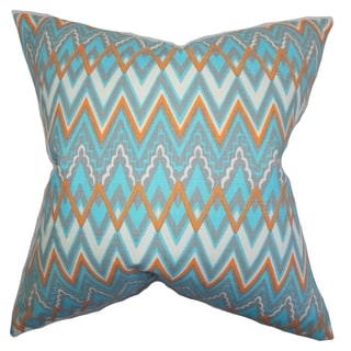 Forsythia Geometric Blue Feather Filled 18-inch Throw Pillow