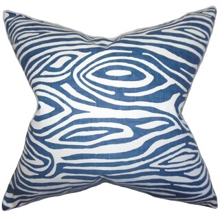 Thirza Swirls Blue Feather Filled 18-inch Throw Pillow