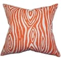 Thirza Swirls Tangerine Feather Filled 18-inch Throw Pillow