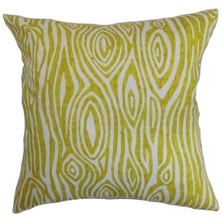 Thirza Swirls Artist Green Feather Filled 18-inch Throw Pillow