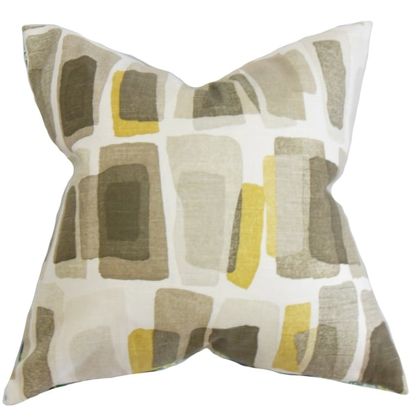 Ulla Geometric Brown Feather Filled 18-inch Throw Pillow