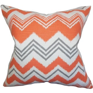 Quirindi Zigzag Orange Feather Filled 18-inch Throw Pillow