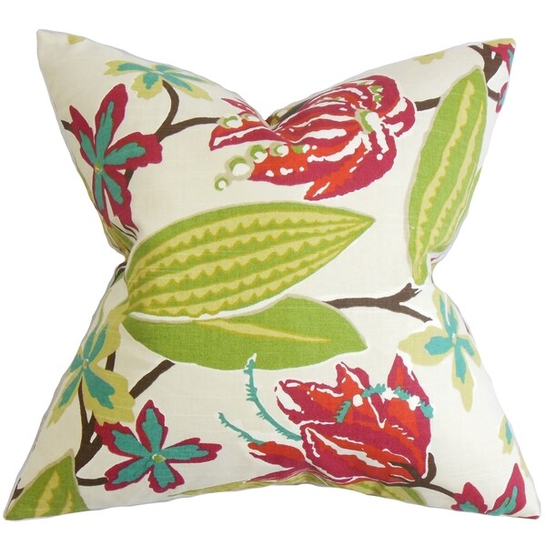 Averill Floral Pink Feather Filled 18-inch Throw Pillow