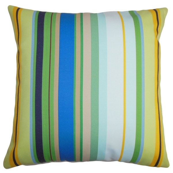 Laird Stripes Blue White Feather Filled 18-inch Throw Pillow