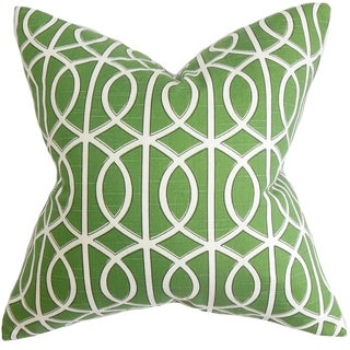 Lior Geometric Green Feather Filled 18-inch Throw Pillow