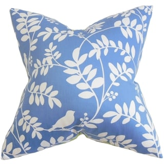 Nyssa Floral Blue Feather Filled 18-inch Throw Pillow