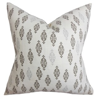 Ziven Geometric Gray Feather Filled 18-inch Throw Pillow
