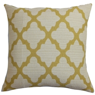 Odalis Geometric Yellow Natural Feather Filled 18-inch Throw Pillow