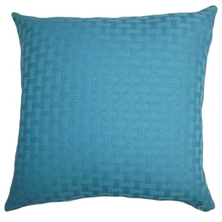 Maarav Solid Turquoise Feather Filled 18-inch Throw Pillow