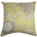 Panthea Floral Yellow Brown Feather Filled 18-inch Throw Pillow