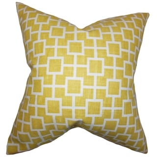 Janka Geometric Yellow Feather Filled 18-inch Throw Pillow