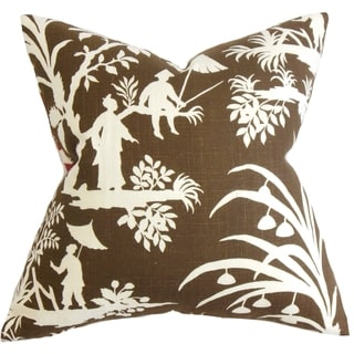 Liya Floral Brown Feather Filled 18-inch Throw Pillow