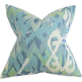Farrar Ikat Blue Feather Filled 18-inch Throw Pillow