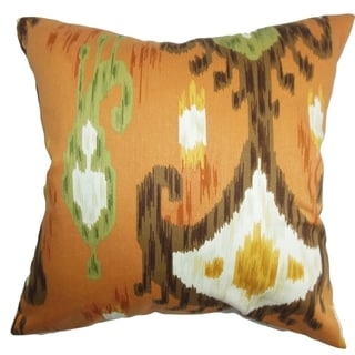 Talisha Ikat Orange Brown Feather Filled 18-inch Throw Pillow