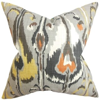 Gudrun Ikat Gray Feather Filled 18-inch Throw Pillow