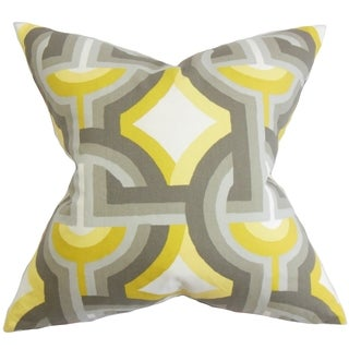 Rineke Geometric Gray Yellow Feather Filled 18-inch Throw Pillow