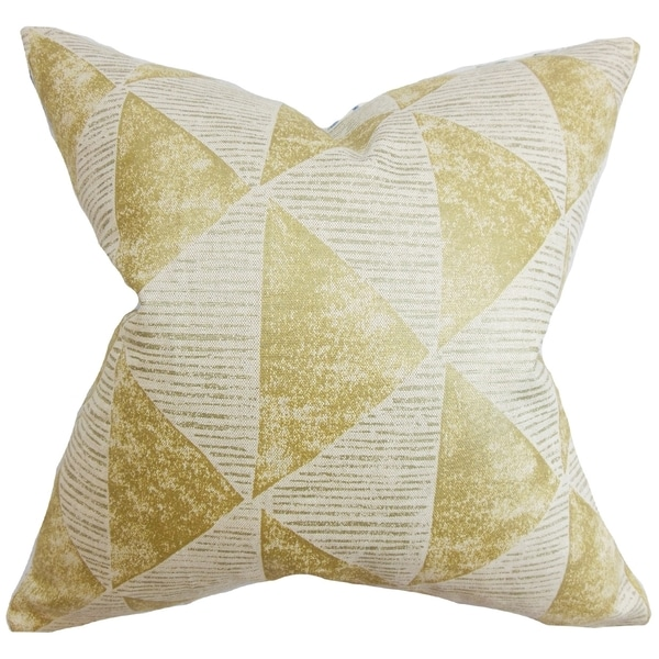 Finula Geometric Gold Feather Filled 18-inch Throw Pillow