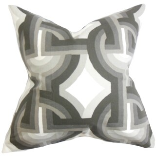 Rineke Geometric Gray White Feather Filled 18-inch Throw Pillow