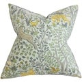 Elihu Floral Aqua Blue Feather Filled 18-inch Throw Pillow