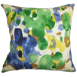 Delyne Floral Green Blue Feather Filled 18-inch Throw Pillow