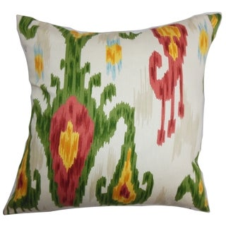 Talisha Ikat Green Pink Feather Filled 18-inch Throw Pillow